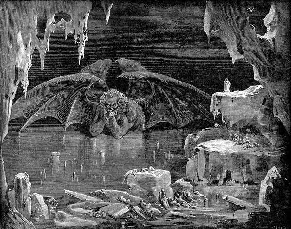 """""""Canto XXXIV,"""" Satan in the Lake of Ice, engraving by Gustave Doré, c. 1868"""